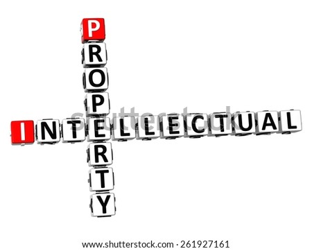 3D Crossword Intellectual Property on white background - stock photo