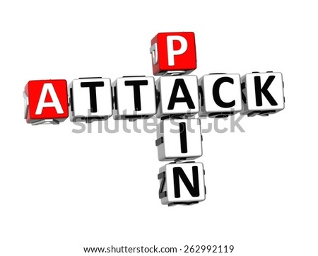 3D Crossword Pain Attack on white background - stock photo