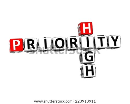 3D Crossword Priority High on white background - stock photo