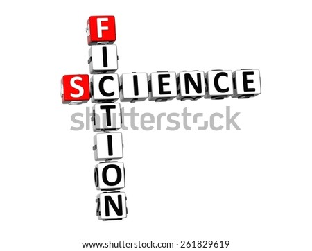 3D Crossword Science Fiction on white background