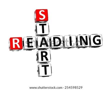 3D Crossword Start Reading on white background - stock photo