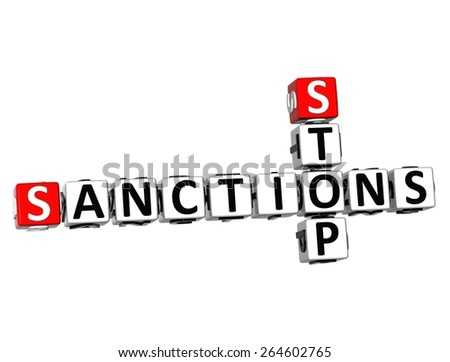 3D Crossword Stop Sanctions on white background - stock photo