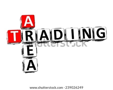 3D Crossword Trading Area on white background  - stock photo