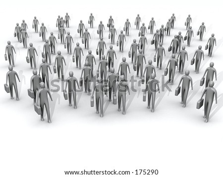 3d crowd of people holding briefcases. - stock photo