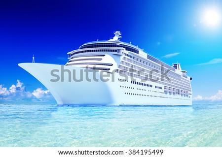 3D Cruise Destination Ocean Summer Island Concept - stock photo