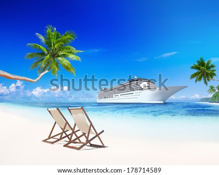 3D Cruise Ship by Tropical Beach - stock photo