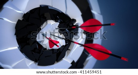 3d crushed archery target with arrows - stock photo