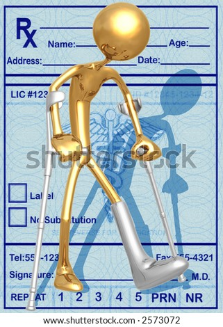 3D Crutches Leg Injury Concept