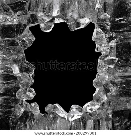 3d crystal ice frame isolated on black background - stock photo