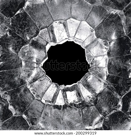 3d crystal round ice frame isolated on black background - stock photo
