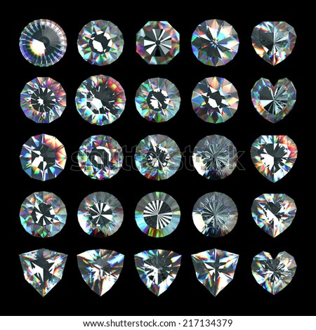 3d crystals, assorted shape cut gemstones, clear jewels, diamonds and brilliants