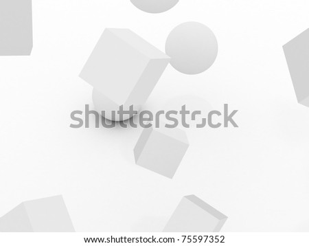 3d cube and ball - stock photo