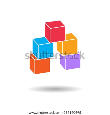 3d cube colored icon. Geometric symbol with shadow. 8 cube composition.