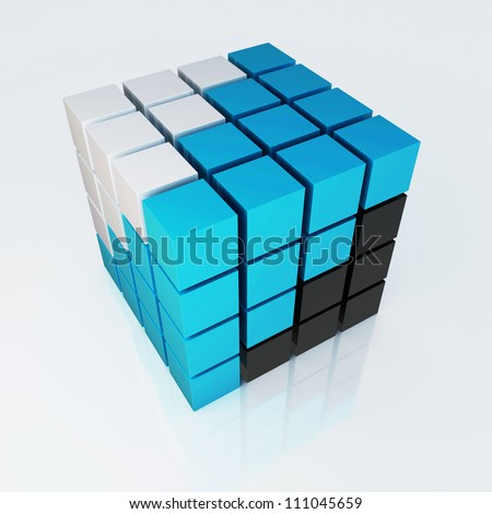 3d cube colorful 4x4 - stock photo