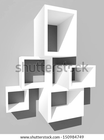 3d cube concept, 3d white shelves isolated - stock photo