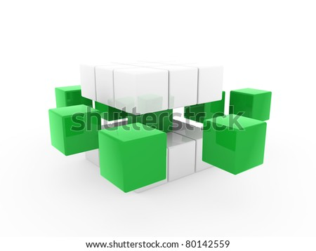 3d cube green white square business concept puzzle