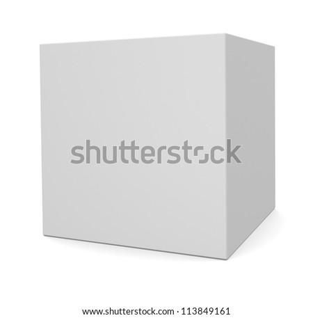 3d cube isolated on white - stock photo