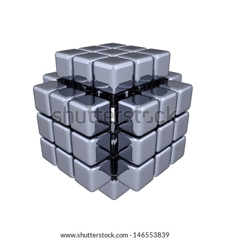 3D Cubes - Assembling - stock photo