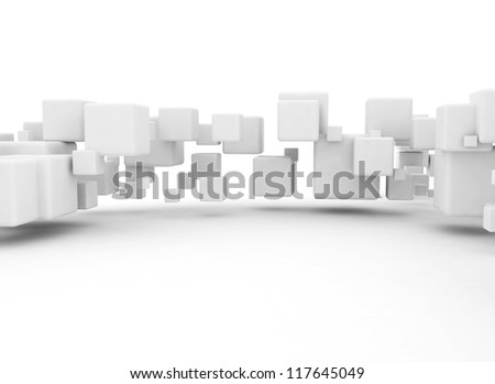 3D cubes background white - stock photo