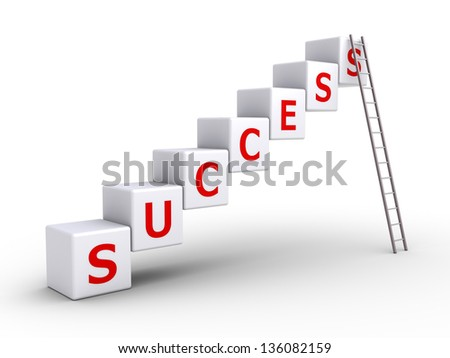 3d cubes forming success word and a ladder leaning on the last cube - stock photo