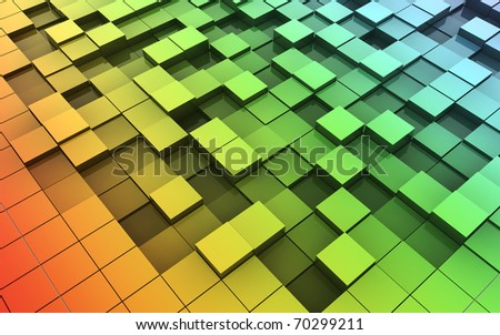 3d Cubes in motion - stock photo