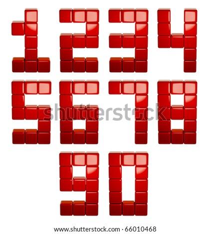 3d cubes numbers set, 3d - stock photo