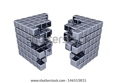 3D Cubes - Separation - stock photo