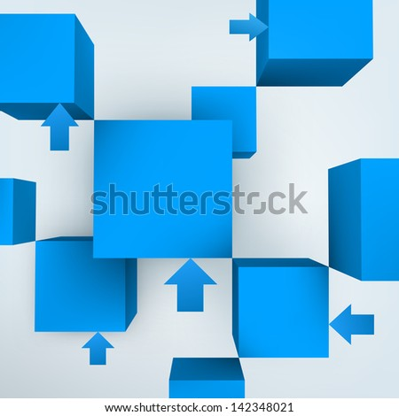 3d cubes with arrows - stock photo