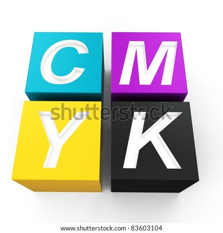 3d cubes with cmyk ink on white - stock photo