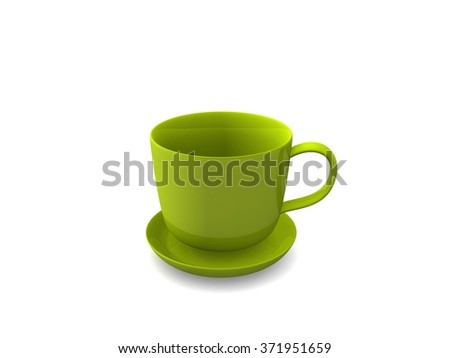 3D cup on white backround