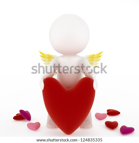 3d cupid with a big red velvet heart. Isolated on white background - stock photo