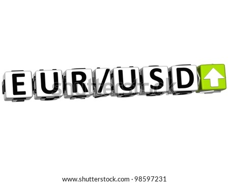 3D Currency euro dollar rate concept symbol button on white background - stock photo