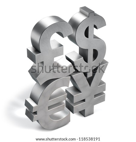 3D Currency Symbols illustration, silvery metallic texture. - stock photo