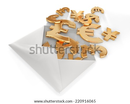 3d currency symbols in envelope. - stock photo