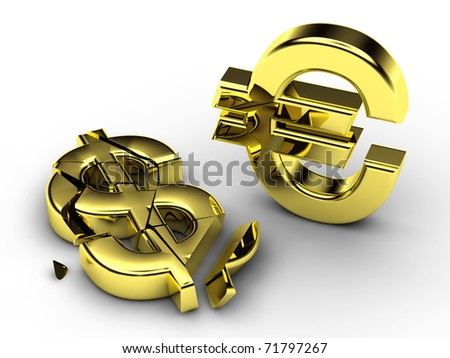 3d currency symbols , shattered dollar and standing euro