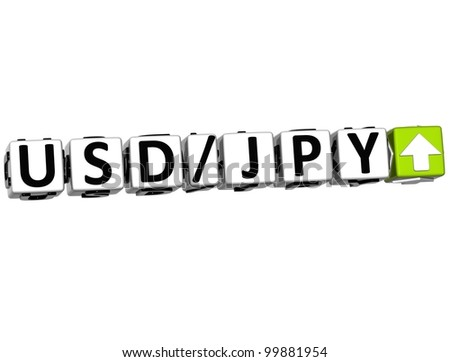 3D Currency USD JPY rate concept symbol button on white background