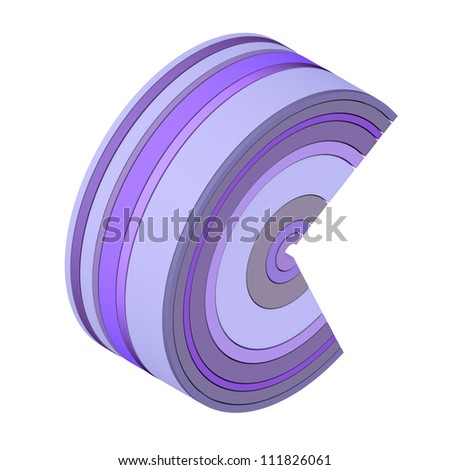 3d curved rectangular c shape icon in purple on white - stock photo