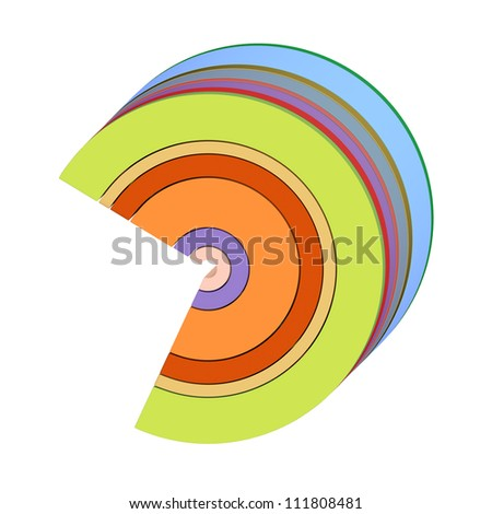 3d curved rectangular c shapes in rainbow color on white - stock photo