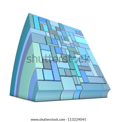 3d curved rectangular shapes in blue on white - stock photo