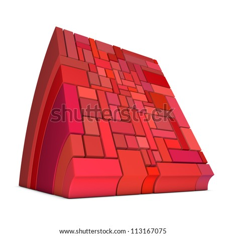 3d curved rectangular shapes in pink red on white - stock photo