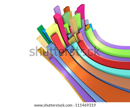 3d curved rectangular shapes in rainbow color on white - stock photo