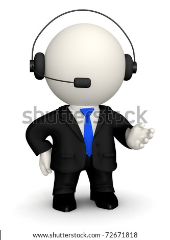 3D Customer support operator - isolated over a white background - stock photo