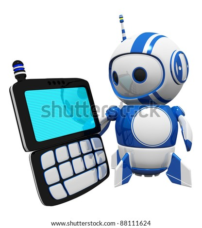 3d cute blue robot with a PDA, screen blank so you can do an overlay effect with your chosen design. - stock photo