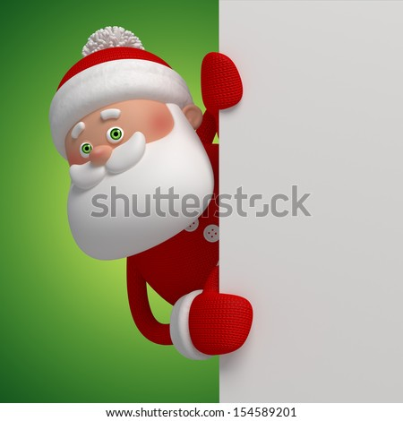 3d cute funny Santa Clause character holding blank Christmas greeting banner - stock photo