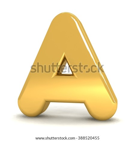 3d cute gold metal letter A with cartoon comic and business alphabet isolated white background shiny golden material rendering - stock photo