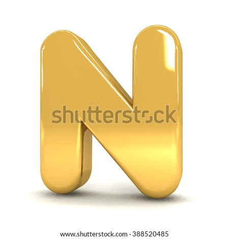 3d cute gold metal letter N with cartoon comic and business alphabet isolated white background shiny golden material rendering - stock photo