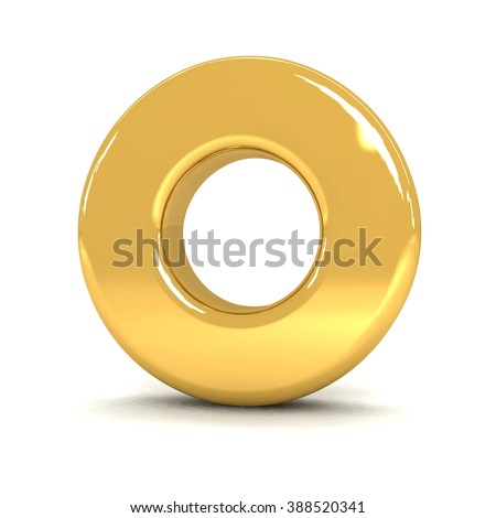 3d cute gold metal letter O with cartoon comic and business alphabet isolated white background shiny golden material rendering - stock photo