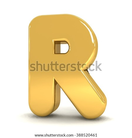 3d cute gold metal letter R with cartoon comic and business alphabet isolated white background shiny golden material rendering - stock photo