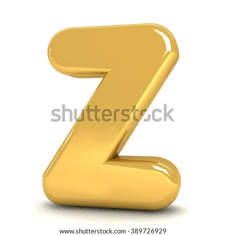 3d cute gold metal letter Z with cartoon comic and business alphabet isolated white background shiny golden material rendering - stock photo