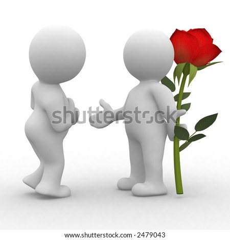 3d cute human make a surprise with a rose - stock photo